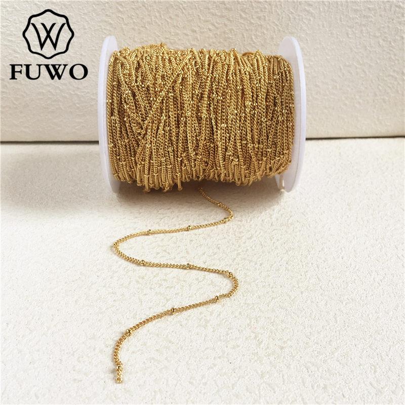 FUWO الجملة المرأة الأقمار الصناعية سلسلة مع الذهب اللون مطلي مكافحة تشويه النحاس قلادة لصنع المجوهرات 1.5-2.5 مللي متر NC008