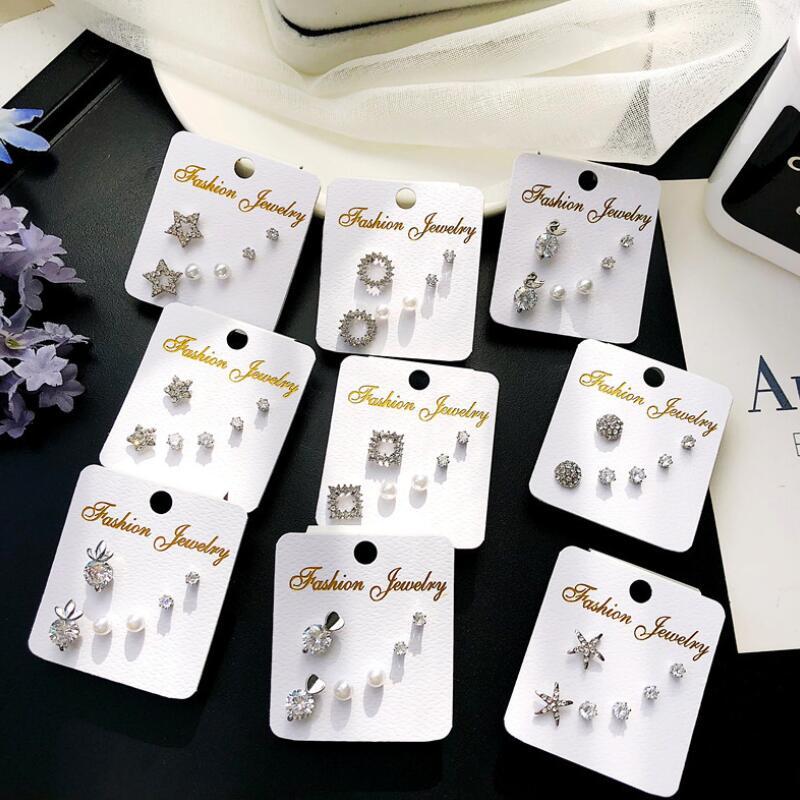 Wholesale 3Pair/Set Women Heart Star White Zircon Earrings Set Fashion Girl Jewelry Gift Clover Round Cute Ear Accessories
