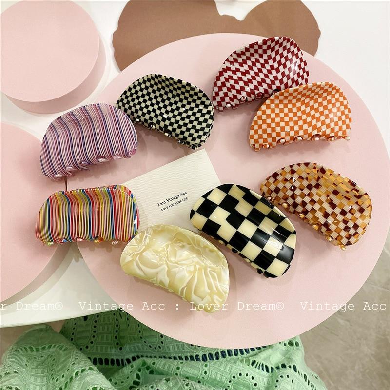 Hot Ins Checkered Hair Claw Clip Acrylic Acetate Black White Colorful Mosaic Grid Plaid Hair Clips Clamp Grab Women Accessories