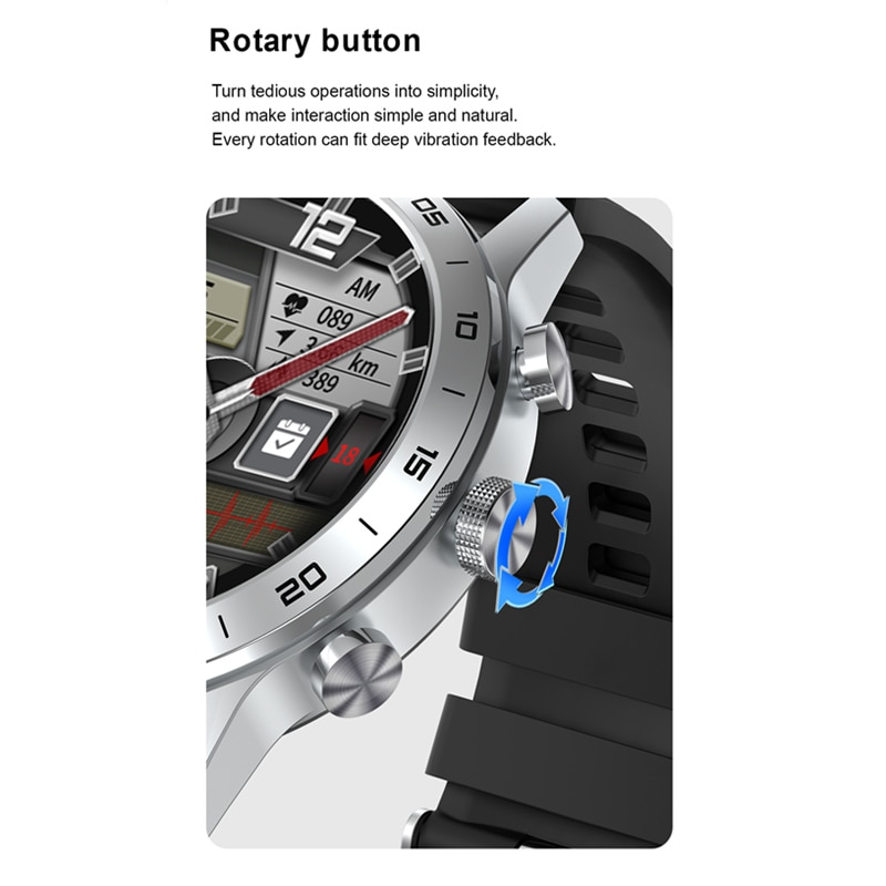 Men's Smart Watch Wireless Charging DIY Custom Watchface Whatsapp Notification Waterproof IP68 Smartwatch For Samsung Huawei