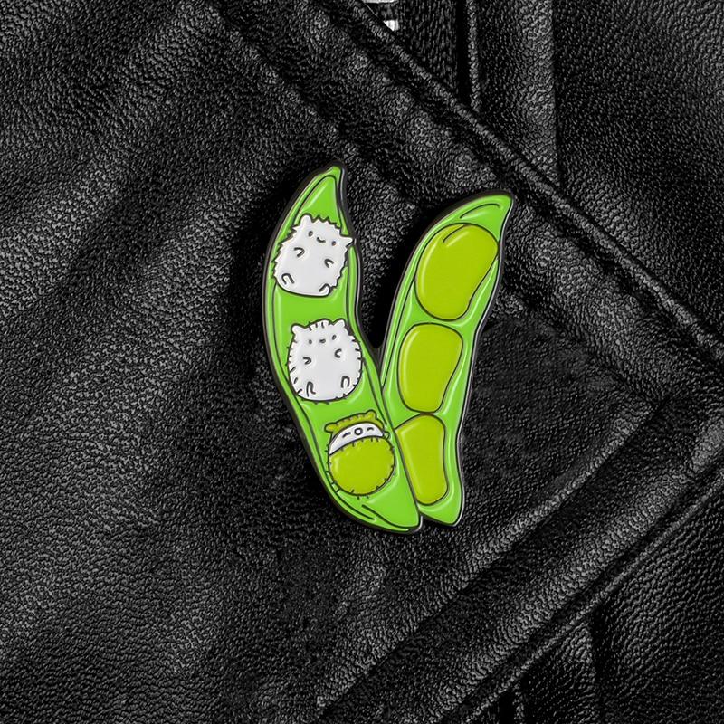 XEDZ pea metal pin cute hamster baby cartoon green plant animal combined body punk badge shirt bag lapel pin brooch jewelry  - buy with discount