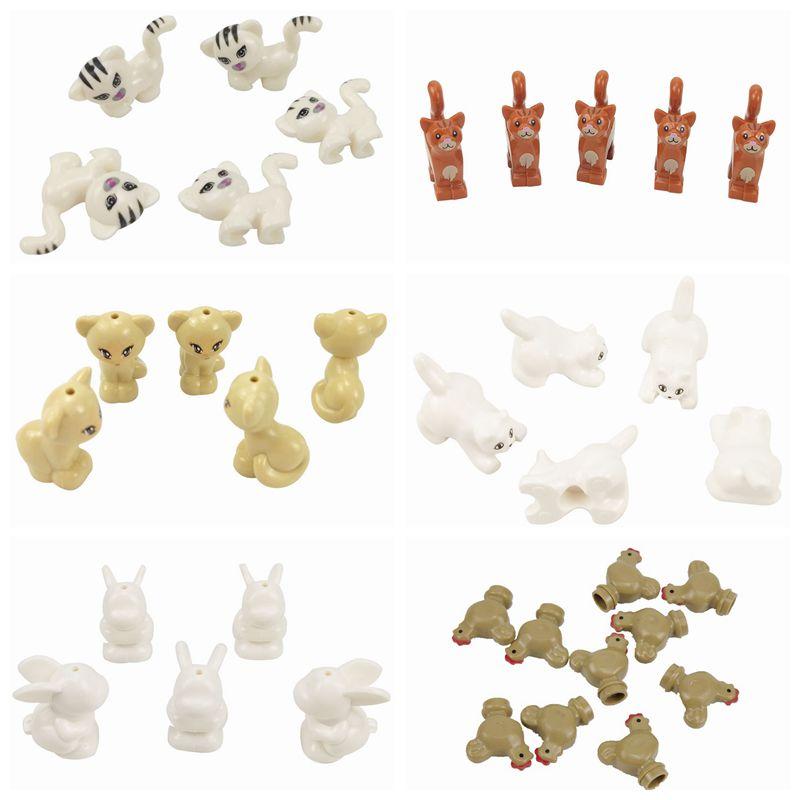 Bloques de bloques de animales de bloqueo con diseño de gato, pollo, Araña, mono, Juguetes de bloques de construcción para niños, figuras de bloques para montar, juguetes para niños