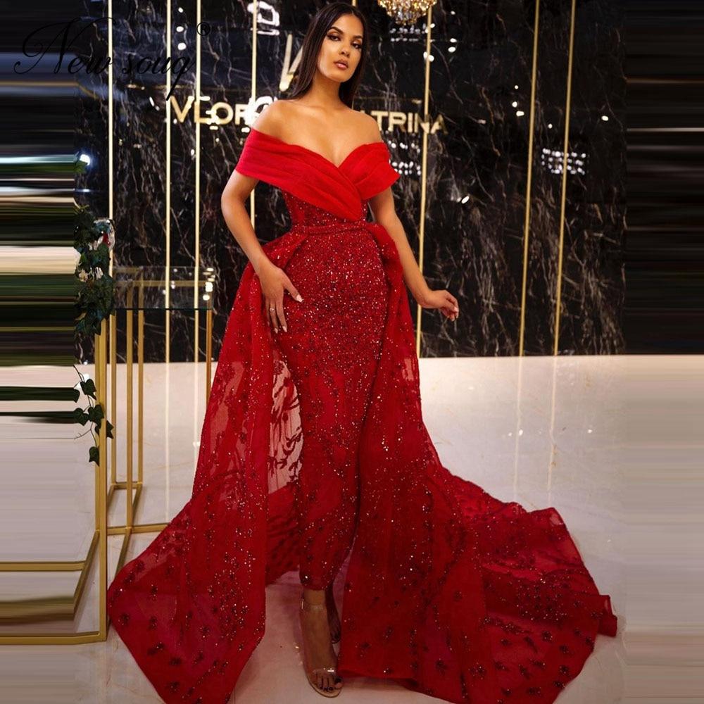فستان سهرة مطرز بالخرز ، موديل 2020 ، أكتاف عارية ، لون أحمر ، مخصص ، للمشاهير ، في المملكة العربية السعودية ، دبي