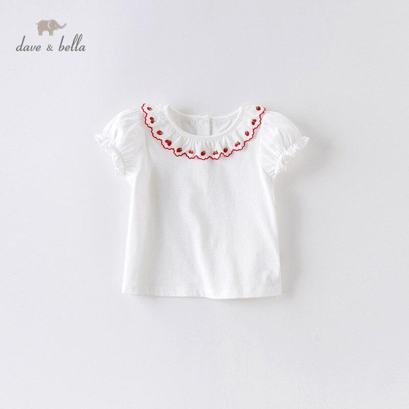 DBJ13925 dave bella verano niñas bordado fruta camiseta fruncida niños de manga corta tops Chicas lindas niños camisetas de moda