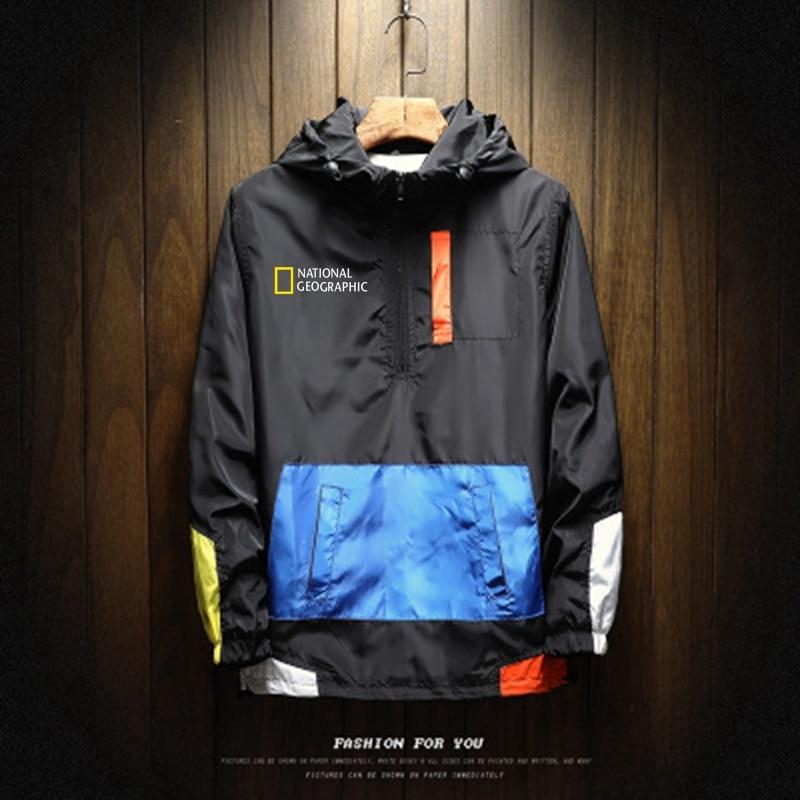 Новинка 2021, Мужская демисезонная куртка на молнии, повседневная куртка-бомбер с капюшоном, модная Лоскутная ветровка, мужская куртка, одежд...