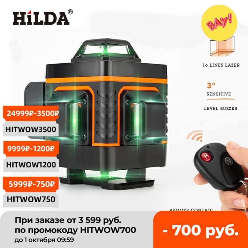 HILDA 12/16 Lines 3/4D Laser Level Level Self-Leveling 360 Horizontal And Vertical Cross Super Powerful Green Laser Level