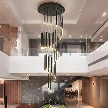 Moderne led lustre minimaliste duplex étage mode atmosphère nordique salon lampe villa escalier en colimaçon longue suspension
