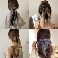 new chiffon tie dye print long hair ribbon scrunchies elastic hair bands women girls bow ponytail holder hair ties accessories