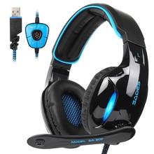 SADES SA-902 casque de jeu stéréo 7.1 Surround virtuel basse jeu écouteur casque avec micro lumière LED pour ordinateur Gamer