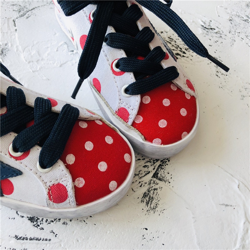 Spring and Summer New First Layer Cowhide Children's  Dirty Shoes Girls Retro Polka Dot Canvas Kids Sneakers CS186 enlarge