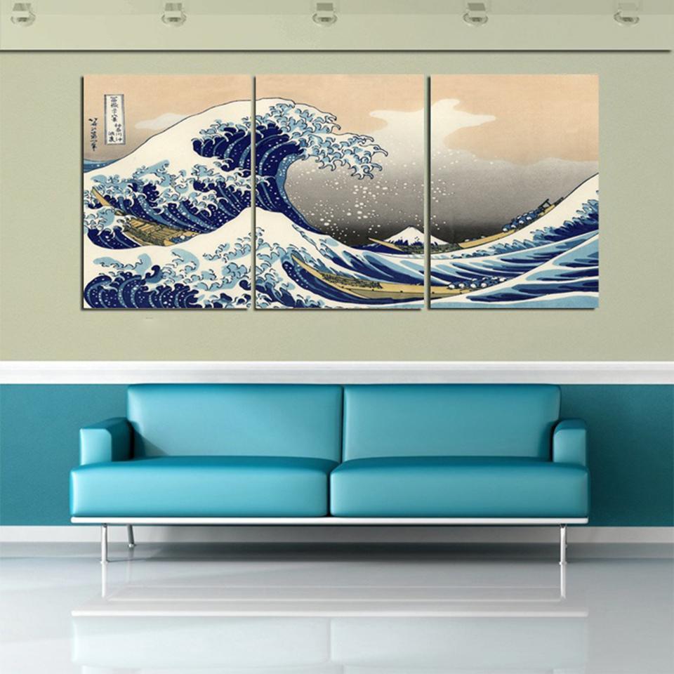 3 piezas de arte de pared, cuadros de Arte de pared de gran ola de Kanagawa, pintura de lienzo de estilo japonés para sala de estar