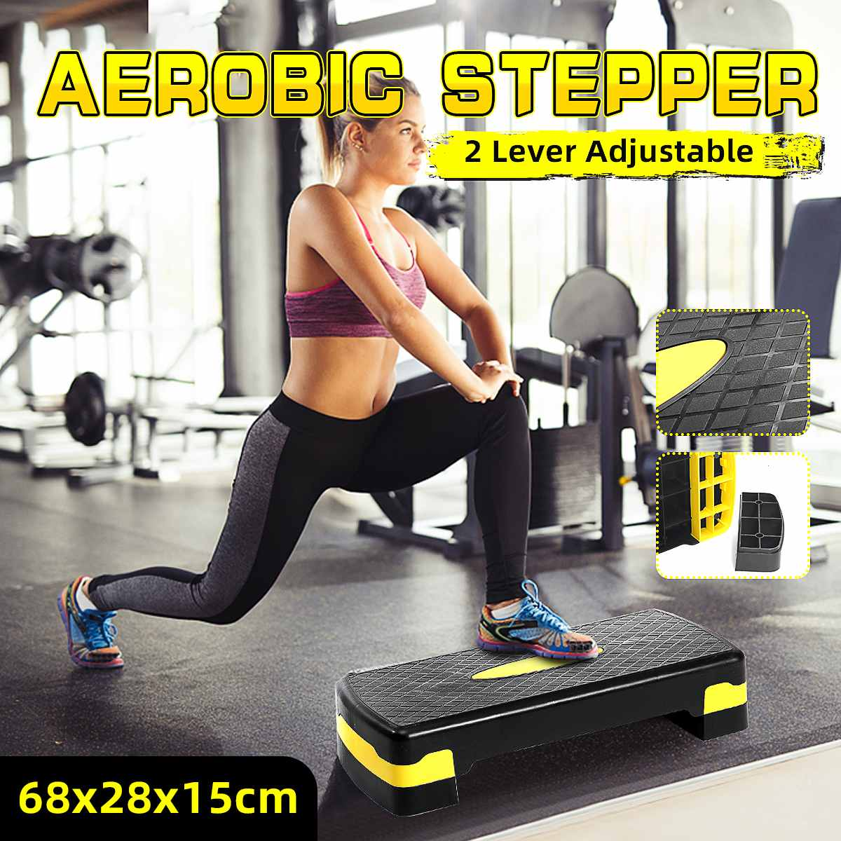 Fitness Aerobic Step Adjustable Stepping Height Cardio Yoga Pedal Stepper Gym Workout Exercise Fitne