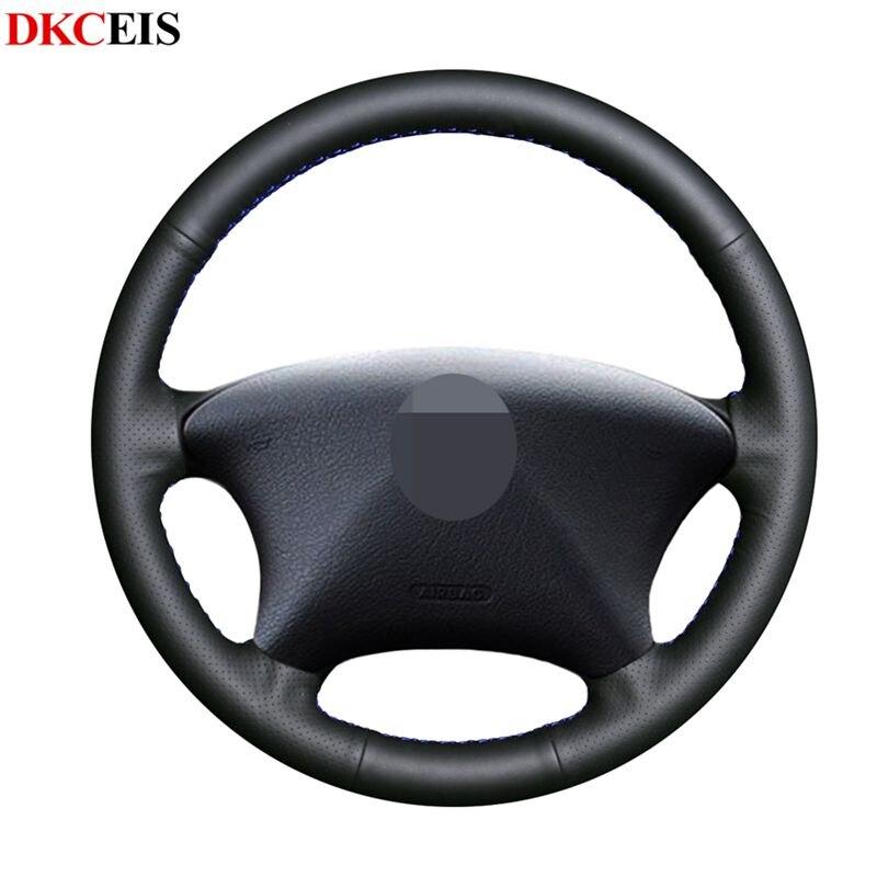 Mano de bricolaje-negro de punto de cuero suave de la PU protector para volante de coche para Citroen Peugeot Partner 2003-2008 Xsara Picasso 2003-2010