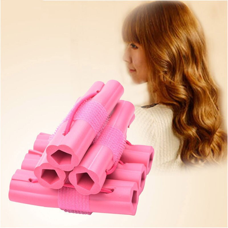 Rosa 6 unids/set esponja de espuma mágica rizador para el cabello DIY pelo ondulado viaje uso doméstico rodillos de rizador de pelo suave herramientas de estilismo
