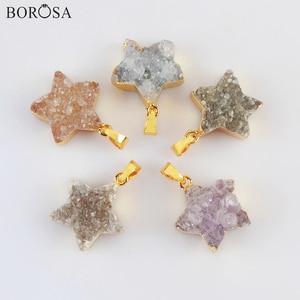 18K Gold Star Shape Natural Agates Druzy Pendant for Necklace, 18inch Gold Pendant Necklace Natural Druzy Pendant Necklace G2023