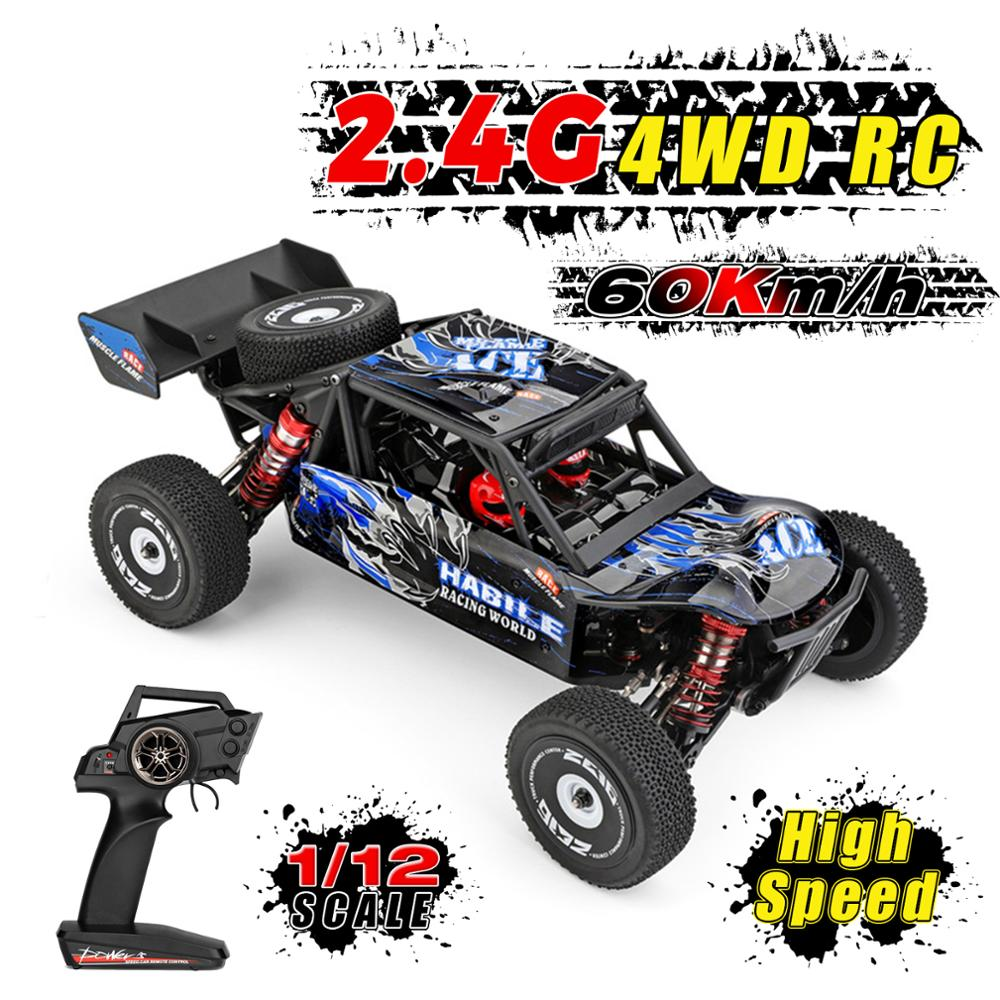 Wltoys 124018 4WD Aluminum Alloy Chassis Zinc Alloy Gear High Speed Racing Car 60km/h 1/12 2.4GHz RC Car Off-Road Drift Car RTR