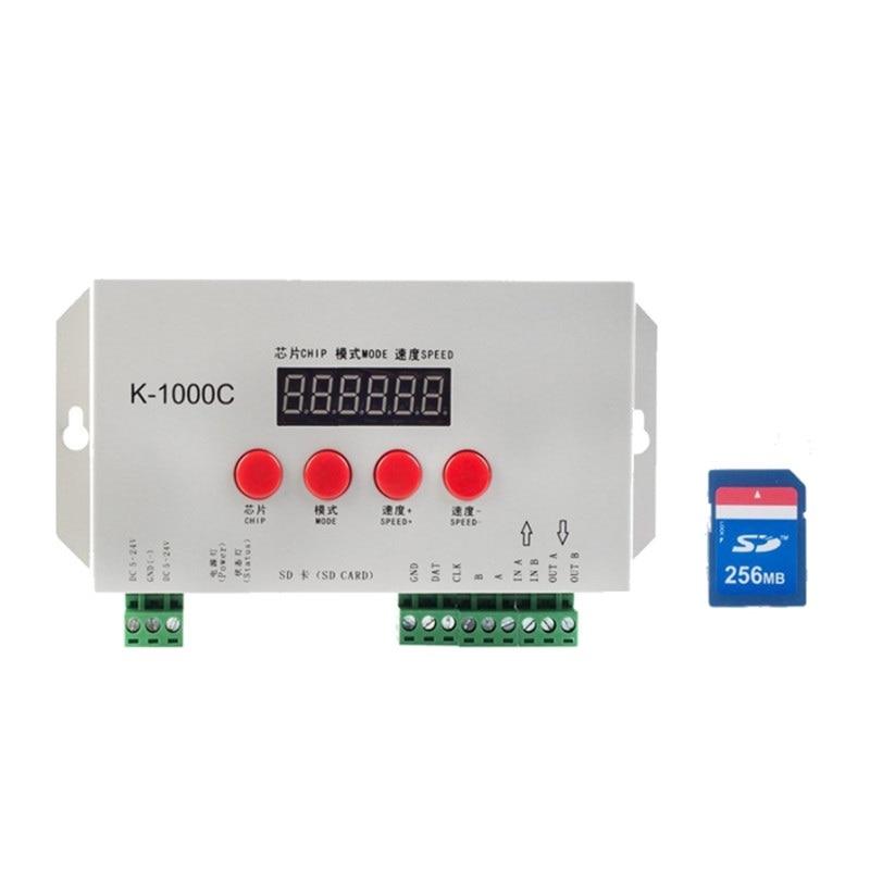K1000C بطاقة SD بكسل تحكم LED RGB تحكم ل WS2801 WS2811 WS2812B LPD6803 LED 2048 DC5 ~ 24 فولت