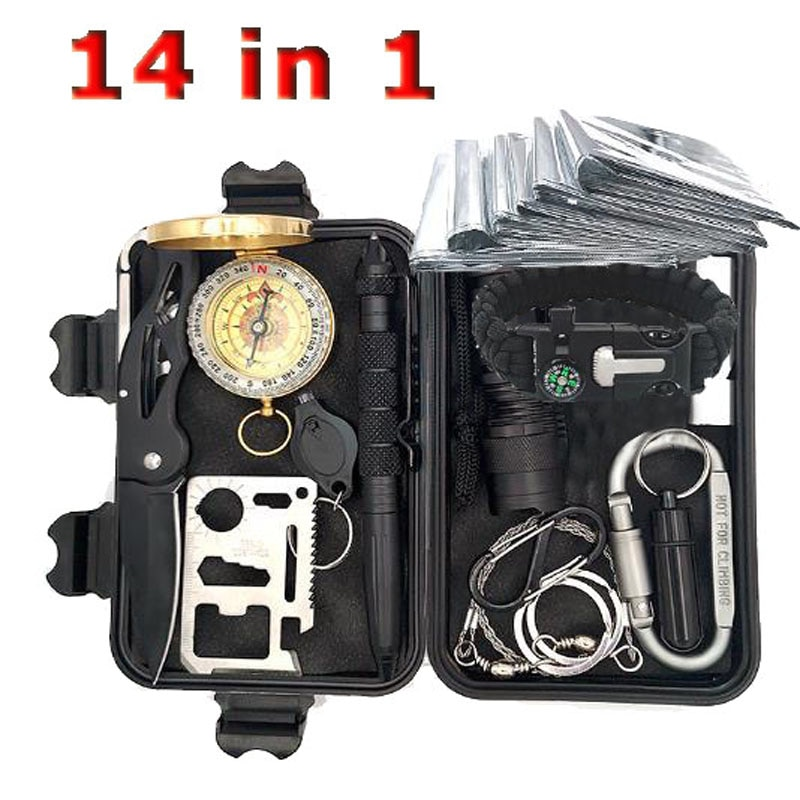 Kit de supervivencia, juego de herramientas militares para acampar al aire libre, Kit de ayuda, multiherramienta EDC, pulsera de supervivencia, silbato de emergencia, cuchillo de Manta