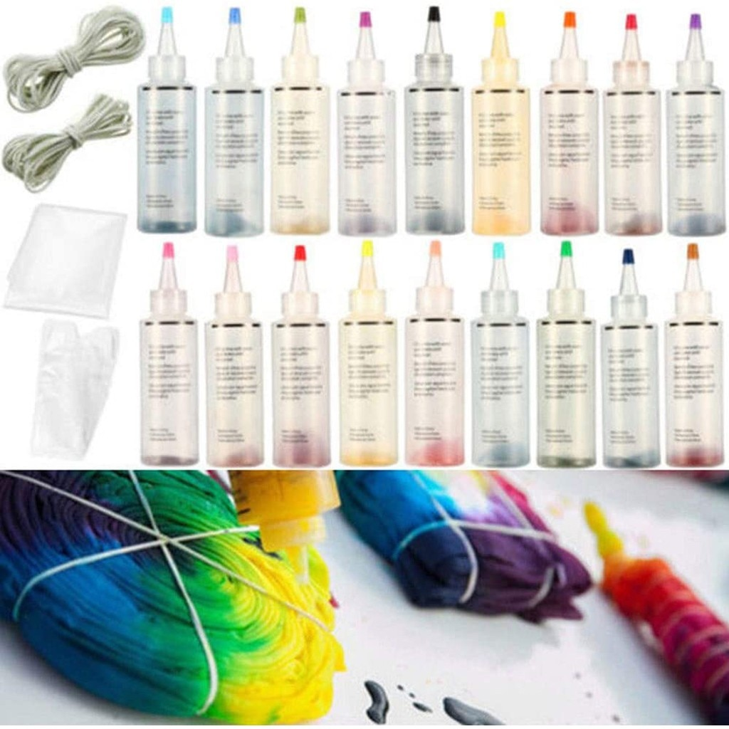 18 garrafas um passo tie dye conjunto diy kits para tecido têxtil artesanato artes roupas para projetos solo diy corantes pintura ferramentas # lr3