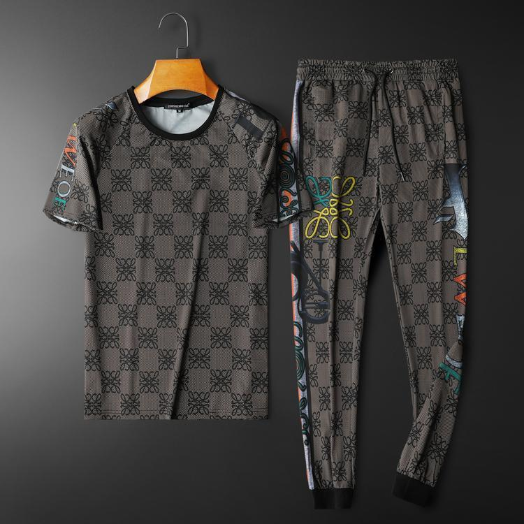 Men s Leisure Sports Suit European Station 2021 Summer New Fashion Letters Printing Youth Two - Piece Set