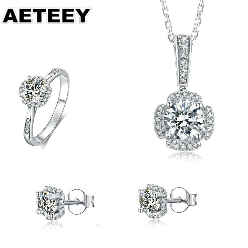 925 الفضة البلاتين ممتازة قطع 1.0ct D اللون تمرير الماس اختبار مويسانيتي مربع قلادة قلادة للنساء Weding JE-10