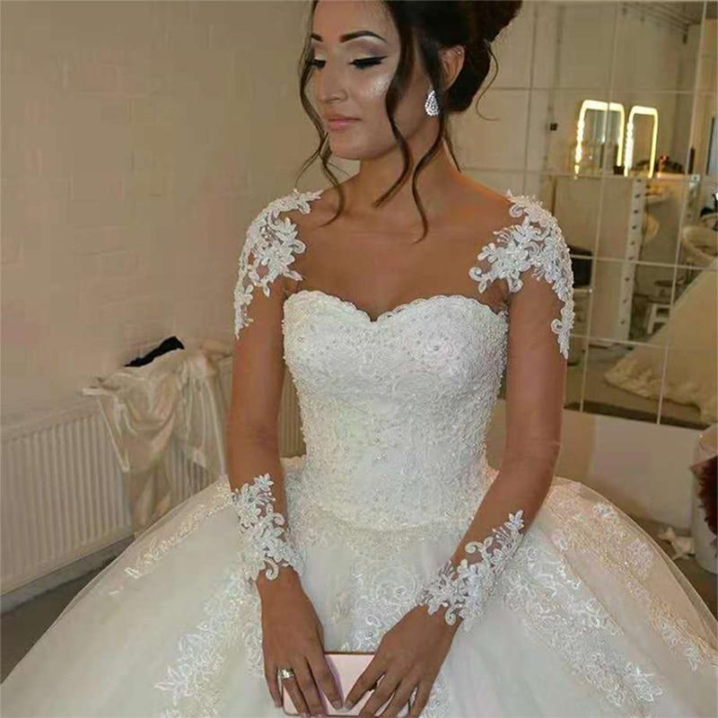 Get Luxury Wedding Dresses A-Line O-Neck Full Sleeves Tulle Floor-length Appliques Lace Up Illusion Bridal Gowns Vestido De Novia