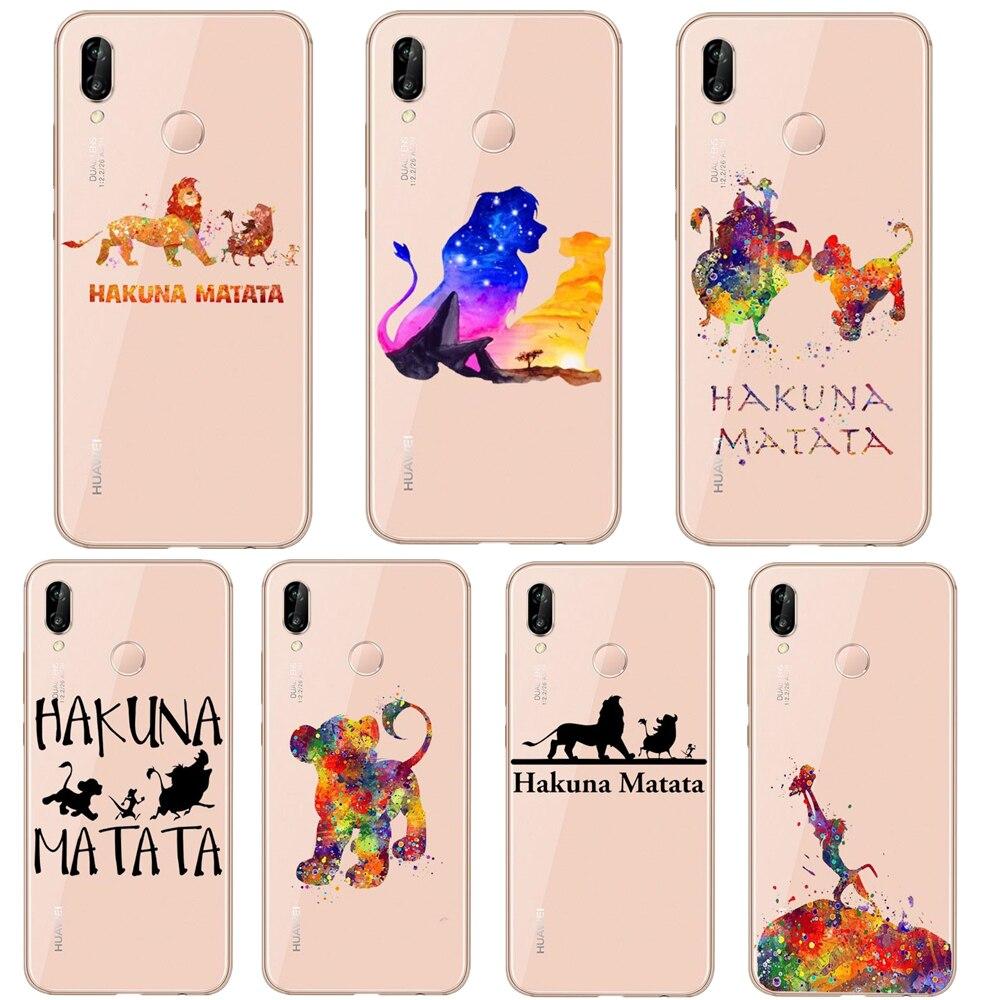 Disneys Rey León Simba nala Pumba Hakuna Matata cubierta de silicona del teléfono para Huawei P30 Lite P30 Pro P20 Lite P10 Lite Mate20