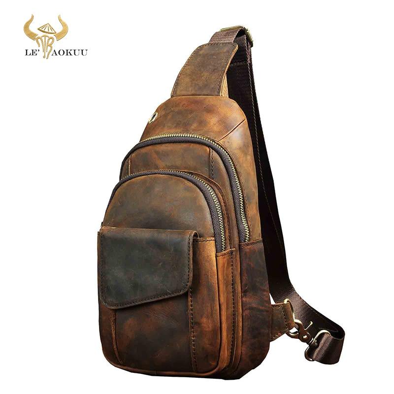 حقيبة كتف جلدية كريزي هورس للرجال ، حزام صدر ، نمط غير رسمي ، 8 بوصات ، حقيبة كتف واحدة ، 8013-d