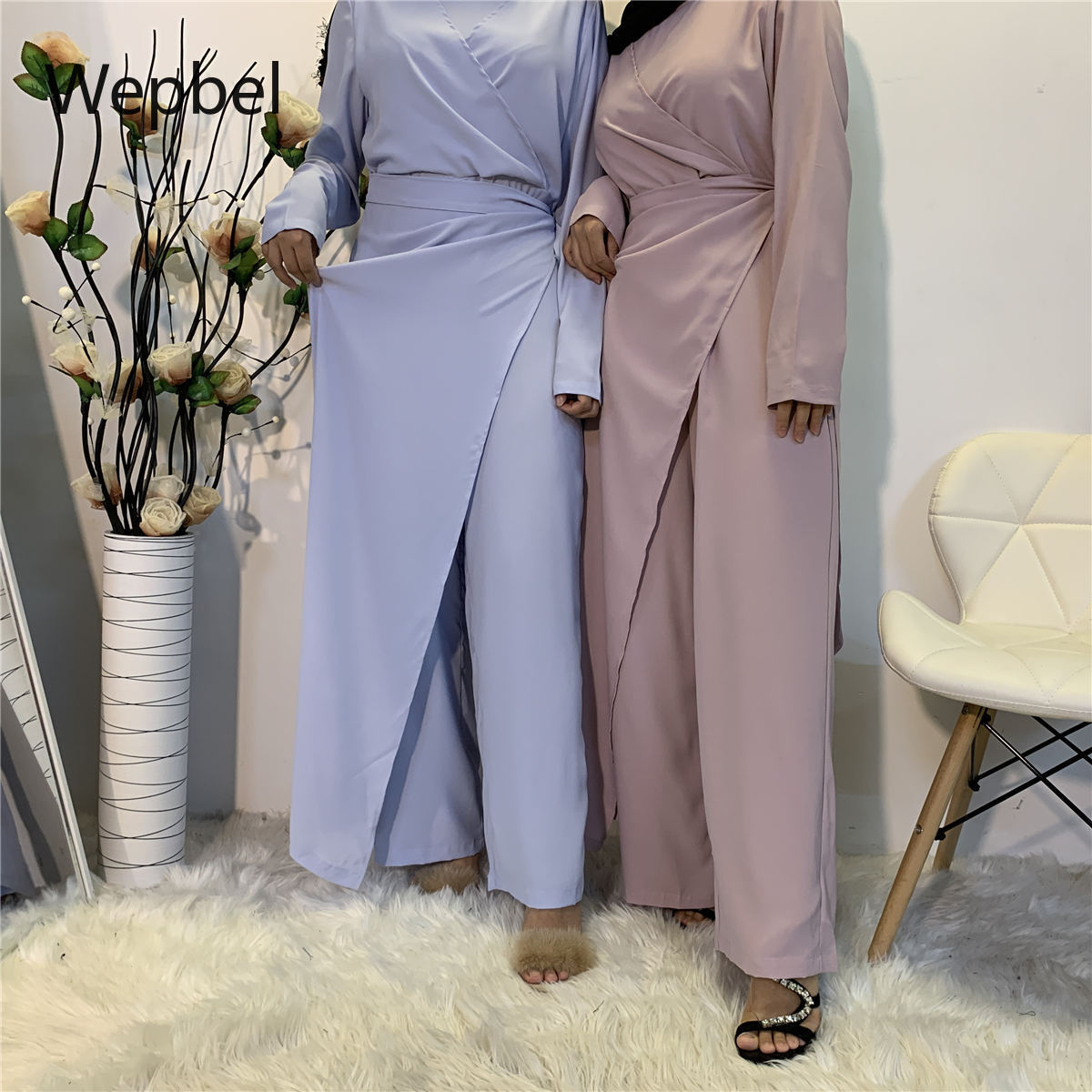 WEPBEL أطقم نسائية إسلامية بفتحة رقبة على شكل حرف v وبلوزات طويلة وسراويل عالية الخصر مجموعات عربية دبي عدد 2 قطعة ملابس بدلة مسلمة