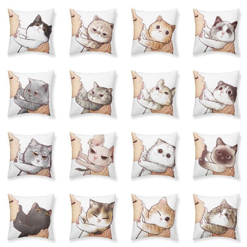 С милым рисунком кота чехол декоративная наволочка для подушки Чехол для подушки Декор Декоративные подушки для дивана, двухсторонний печа...