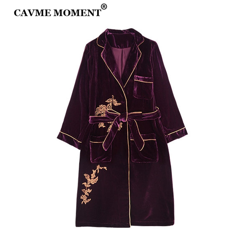 CAVME Luxury Silk Velour Robe for Women Kimono Sleepwear Nightwear Long Robes Emboridery PLUS SIZE
