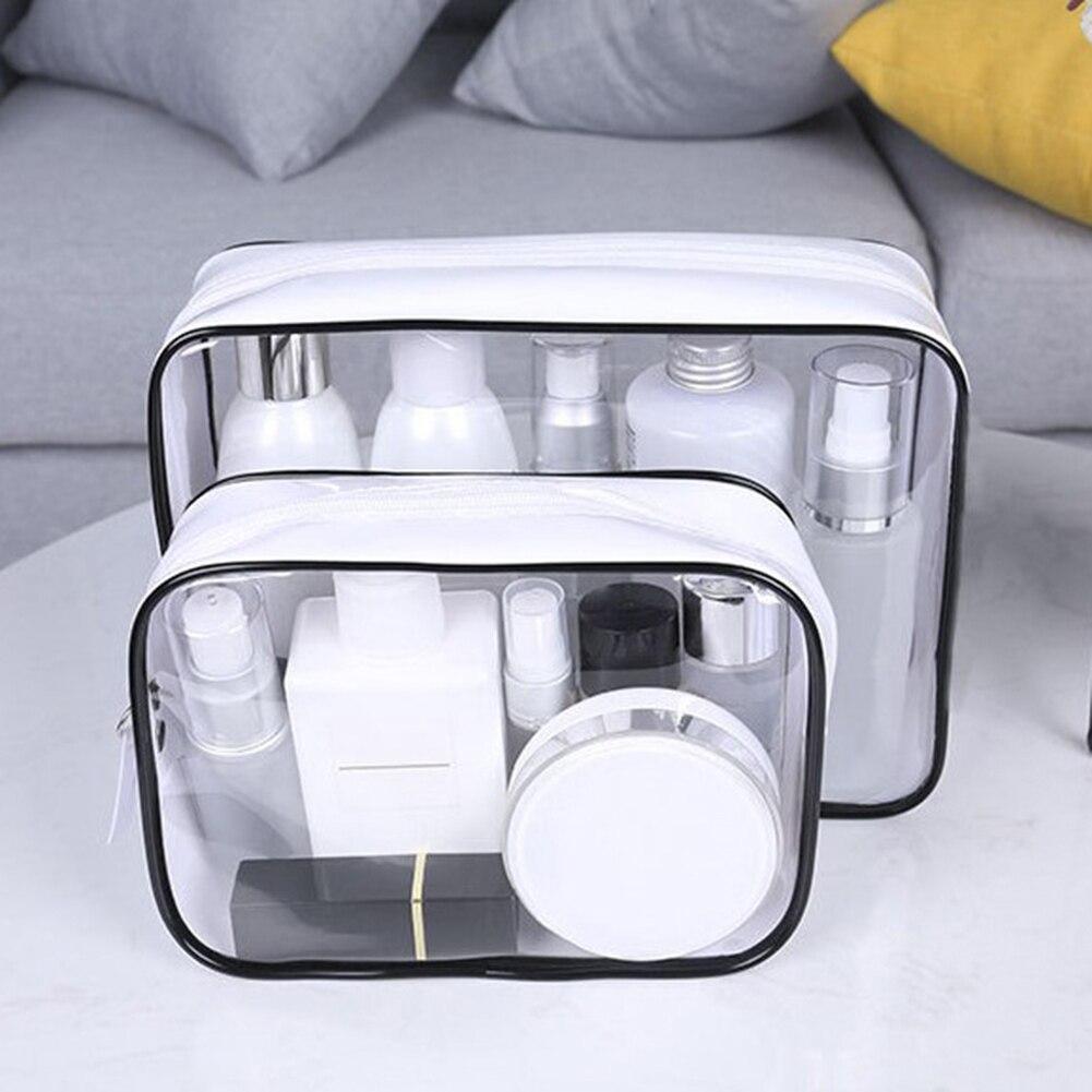 Transparent Cosmetic Bag Women Men Travel Makeup Bags Waterproof PVC Function Toiletry Tool Organize