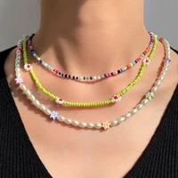 handmade pearl beaded necklace for women imitation pearls choker chain green acrylic glass beads white flower necklaces 2021 new