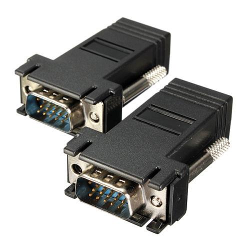 Extensor VGA, adaptador de macho a LAN, Cable de red Adap, CAT5,...