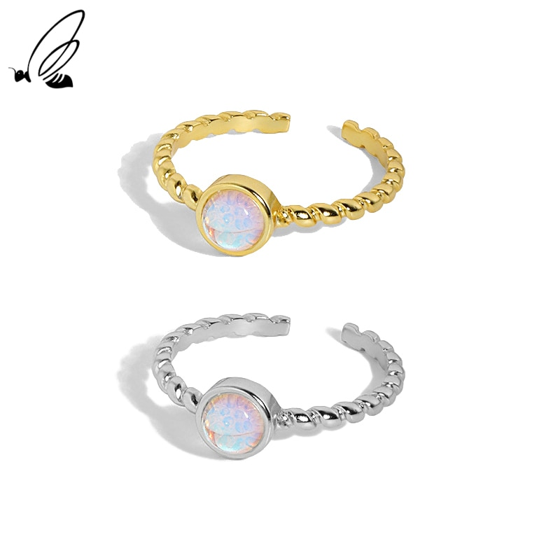 S'STEEL 925 Sterling Silver Minimalist Design Mahogany Micro Moonstone Rings Gifts For Women Ring 20