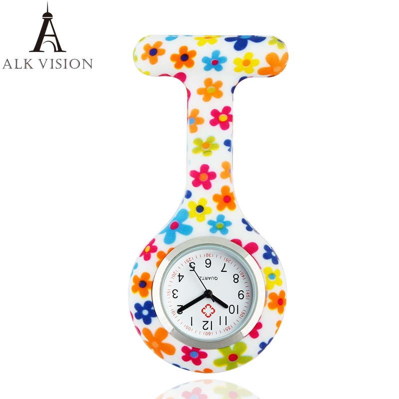 ALK VISION Silicone Medical Nurse Watches Brooch Fob Pocket Watches Fashion Colorful Patterns Accept OEM Service Dropshipping фото