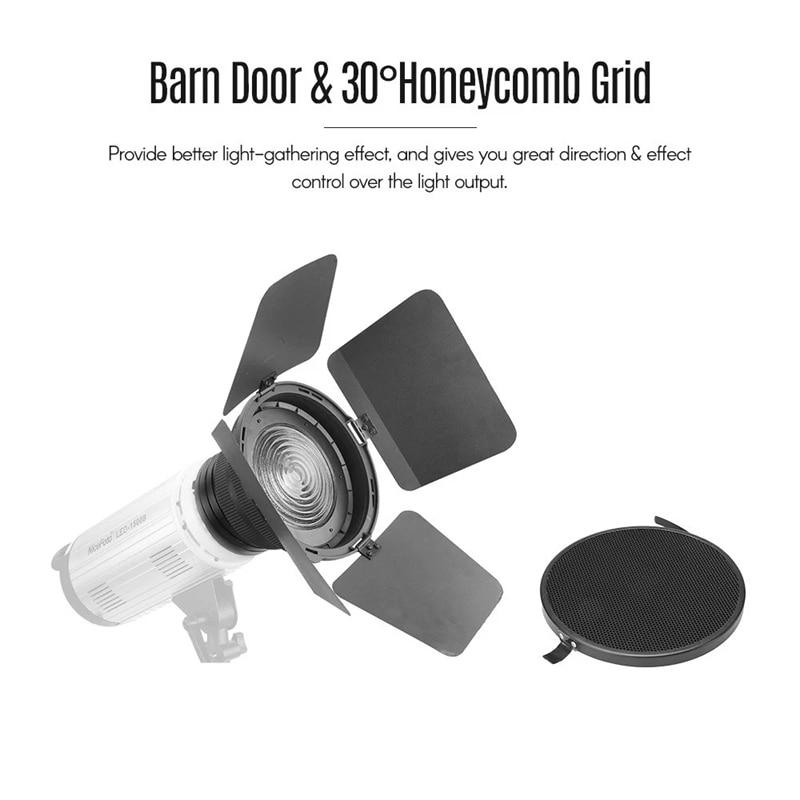 NiceFoto FD-110 فريسنل جبل ضوء التركيز محول ل بونز جبل LED الفيديو ضوء مع أضواء العسل شبكات الحظيرة الأبواب