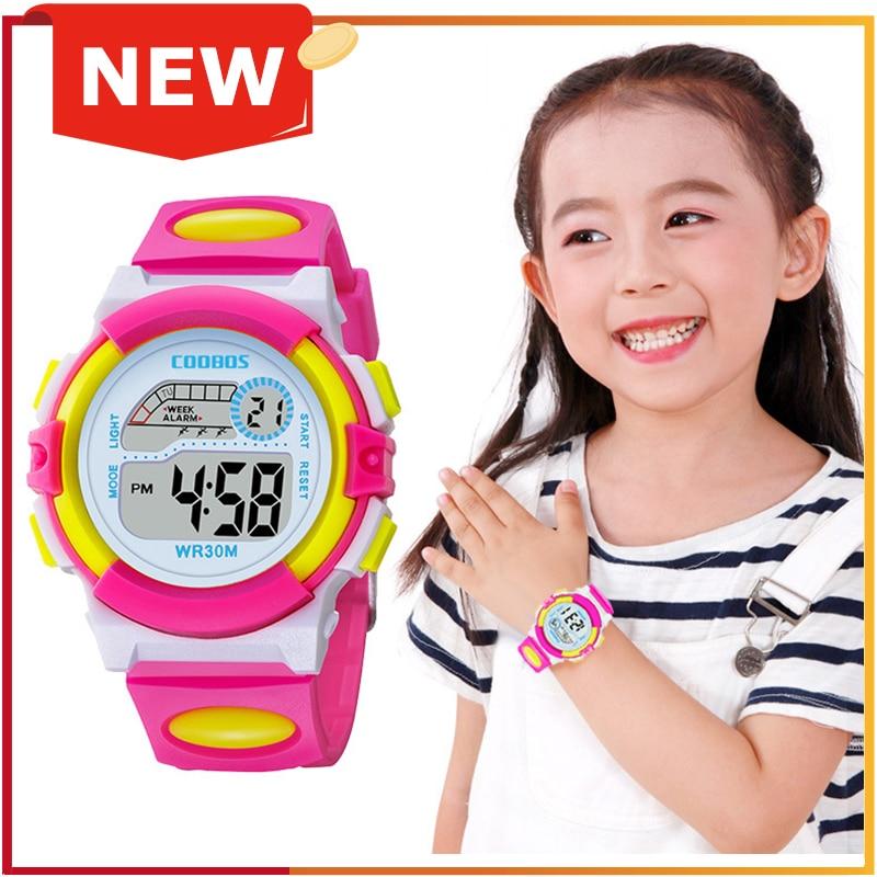 Relojes románticos de color rosa para niñas, relojes elegantes para mujer, relojes luminosos coloridos con Led Digital para niños, relojes para niños