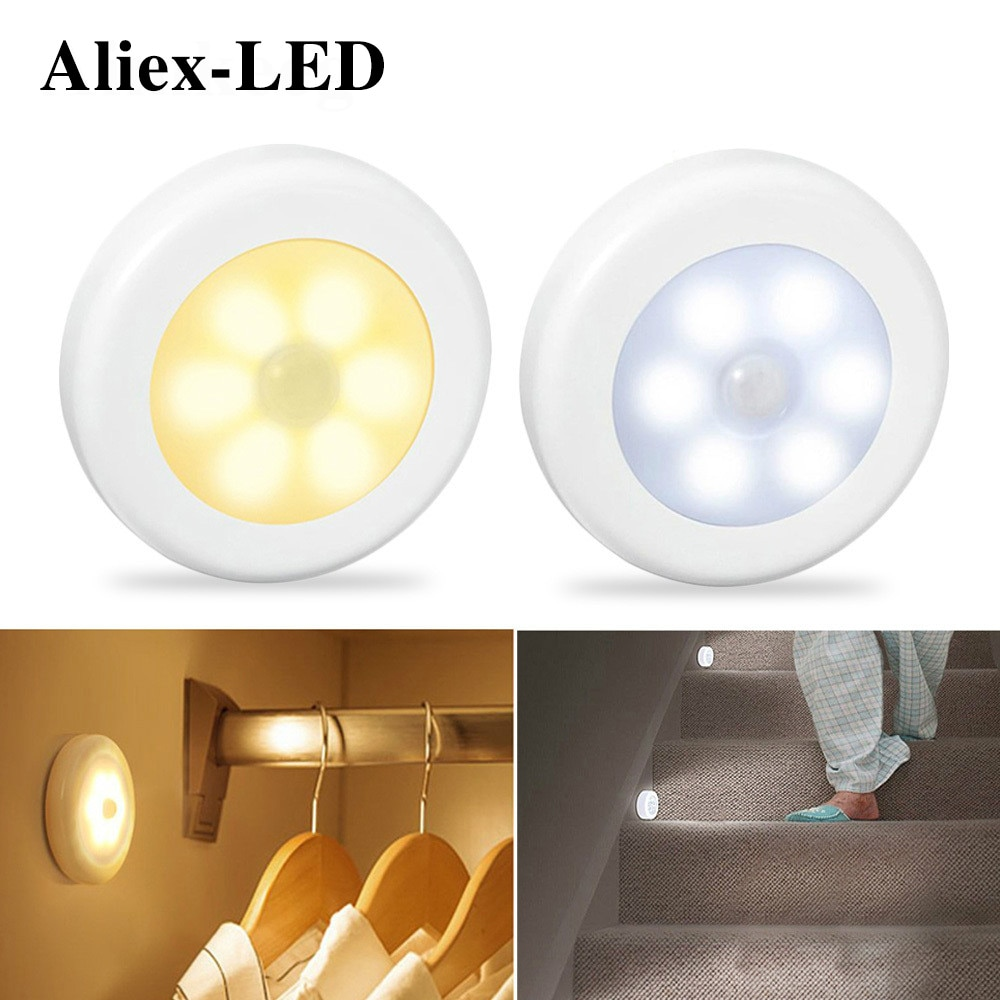 Motion Sensor Wireless Night Lights Bedroom Decor Lamp 6LED Kitchen Cabinet Light Staircase Closet Room Aisle Lighting Wall Lamp