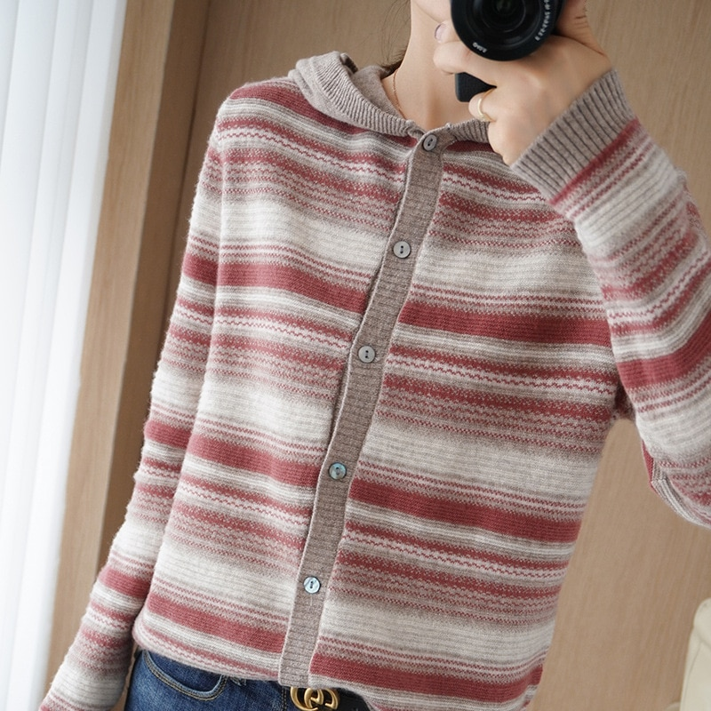 Autumn and winter new hooded cashmere cardigan women wool knitwear striped sweater coat girl