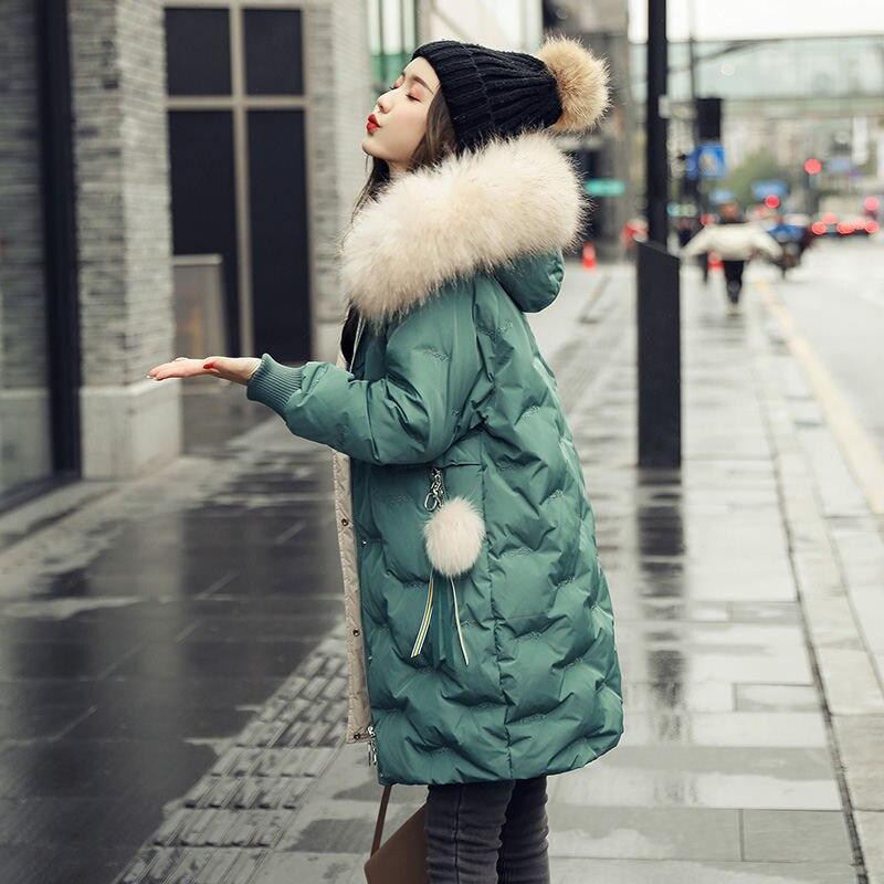 Новая зимняя популярная женская пуховая куртка, модная свободная теплая куртка с меховым воротником, женская уличная куртка средней длины ...