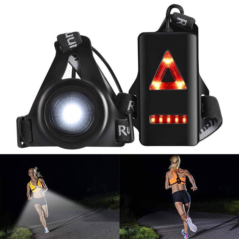 Waterproof Outdoor Sport Running Lights LED Night Cycling Flashlight Warning Bike Light USB Chest Lamp Walking Night Jogging