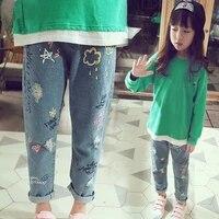 ienens kids children baby girls jeans denim long pants clothes fashion girl elastic waist trousers clothing