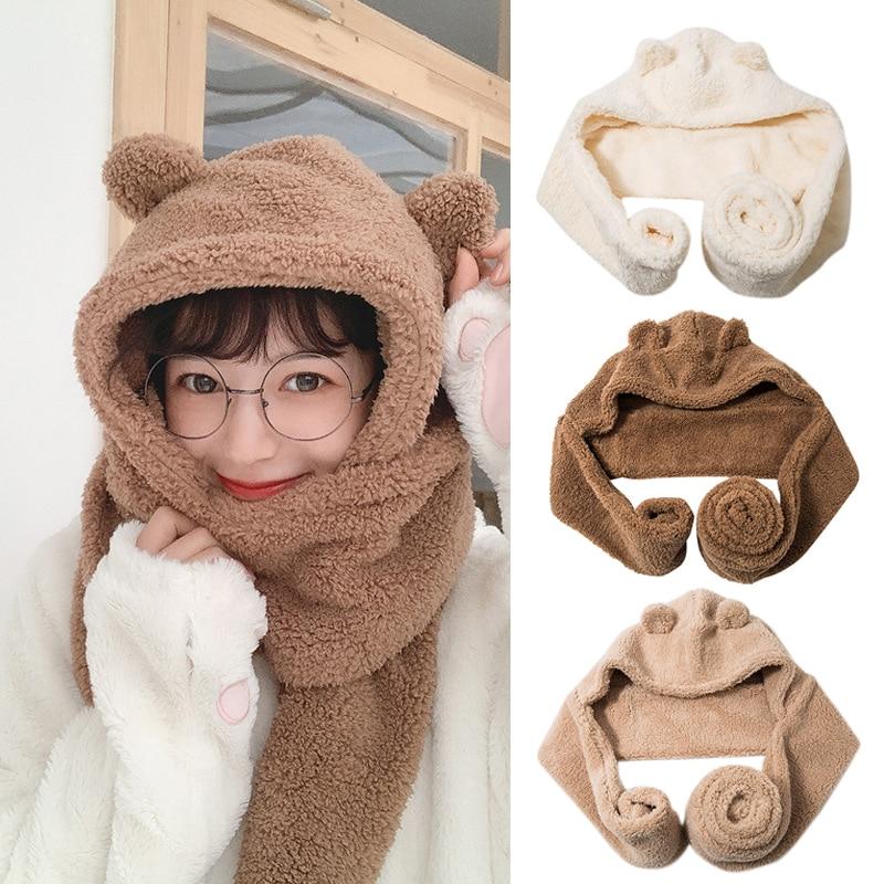 Милая теплая шапка-шарф с медвежьими ушками женская зимняя шапка теплый шарф и шапка прочная TC21