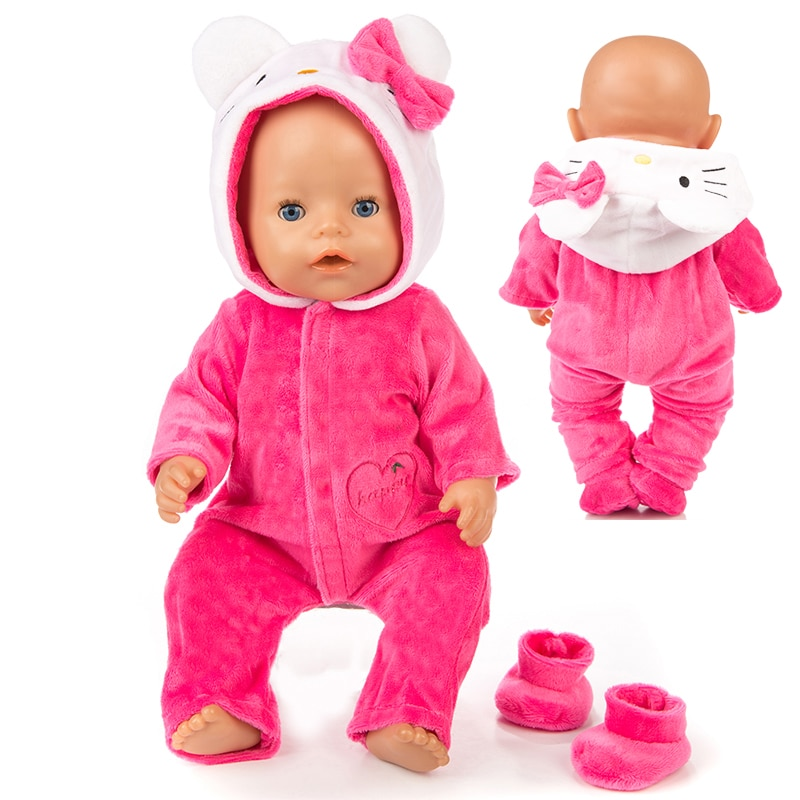 Warm Rompers jumpsuits+shoes Fit 18 inch 43cm Doll Clothes Born Baby Rompers Suit For Baby Birthday