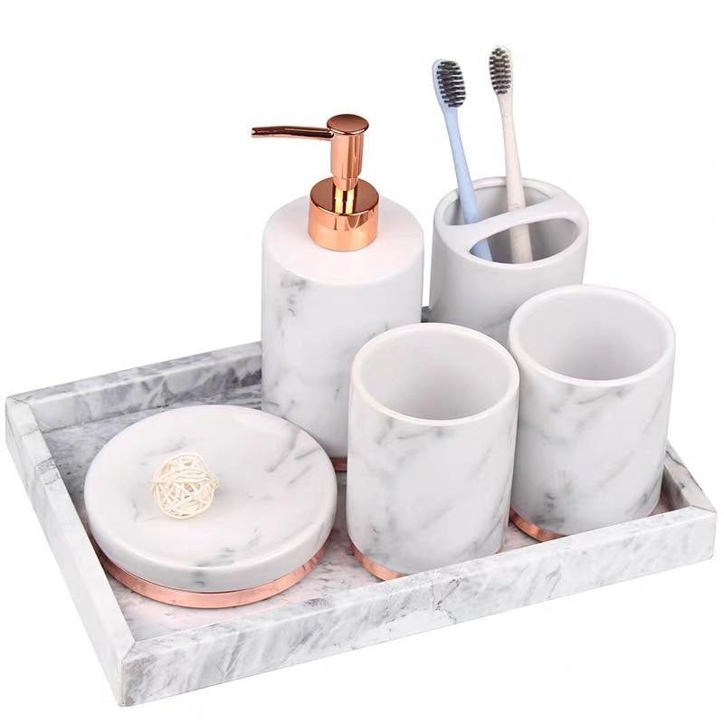 White Marble Bathroom Accessory Mouthwash Cup Toothbrush Holder Lotion Bottle Soap Dish Ceramic 5Pcs Home Hotel Wash Set enlarge