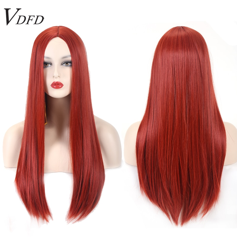 VDFD Copper Red Halloween Cosplay Wig Long Straight Synthetic Hair Purple Pink Curly for Women Daily Party Costume