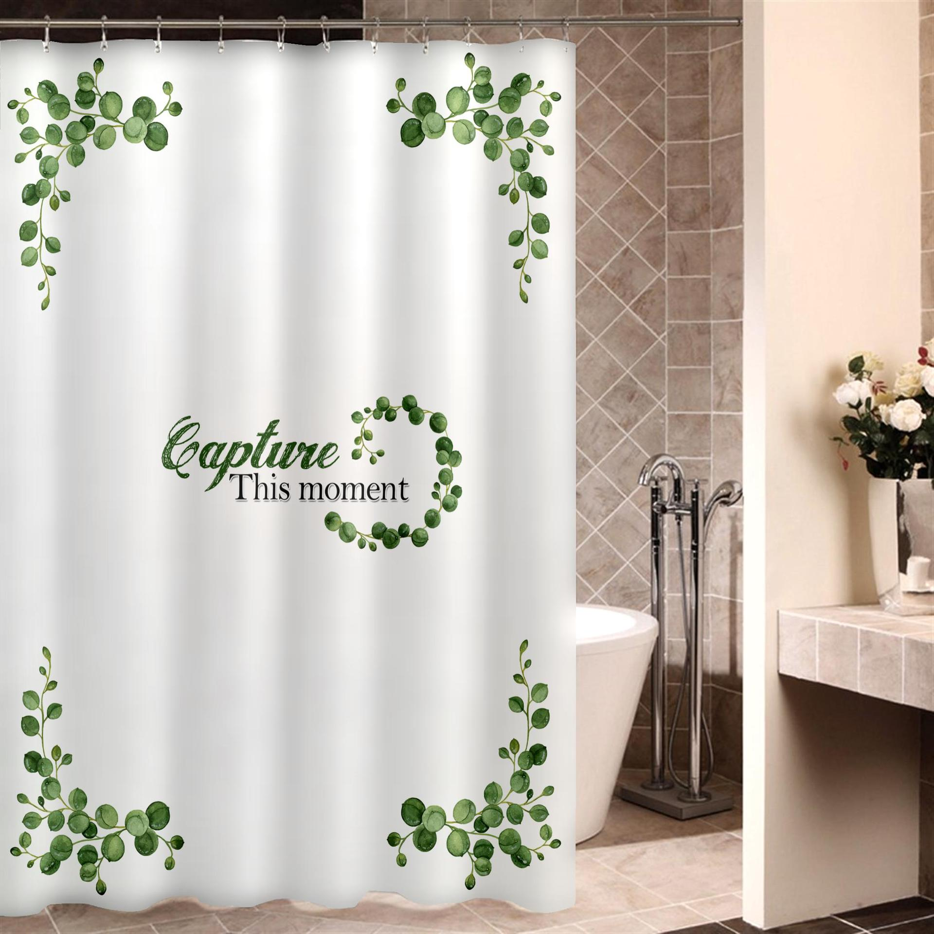 Cortina de ducha con diseño de flores estéticas, Cortina de ducha transparente...