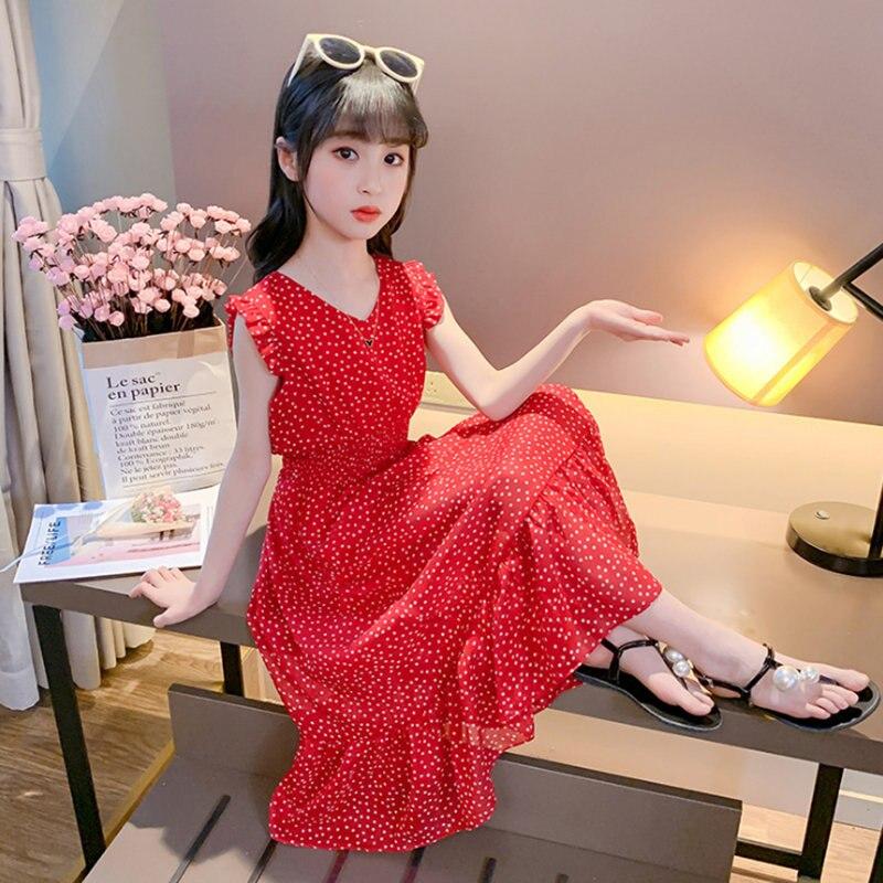 קיץ קטן אדום דוט בנות שמלת 12 ילדי שמלת 10 שיפון 9 שמלת 11 שנים נסיכת שמלת בנות חג המולד אירועים מפלגה