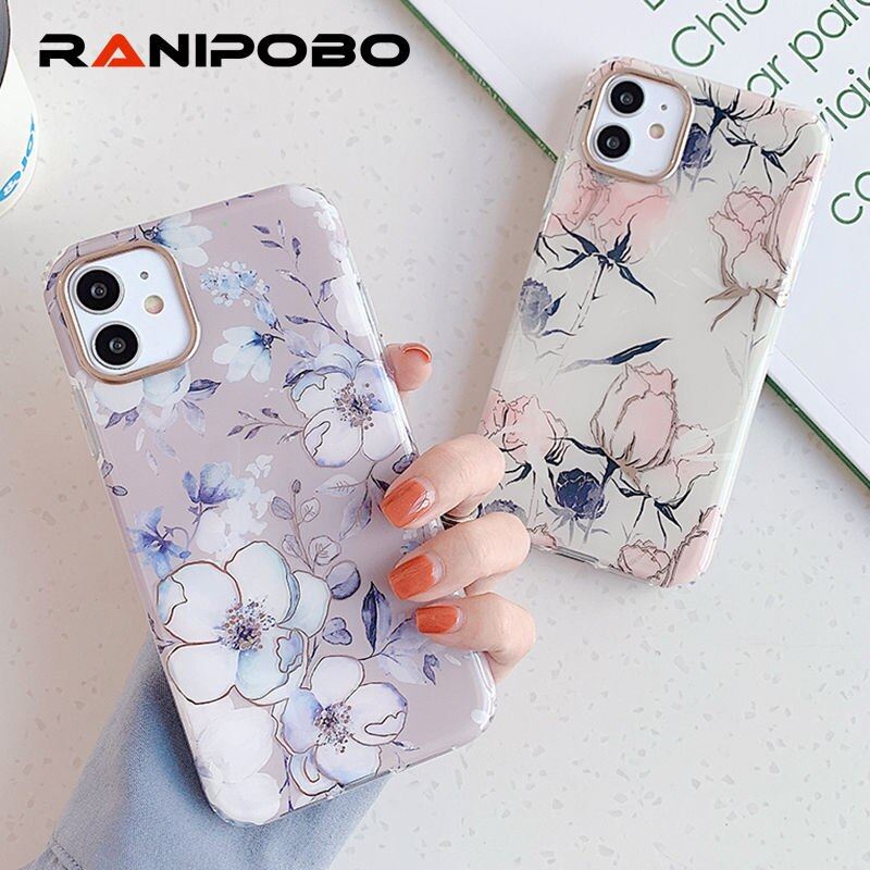 Bronceado Rosa caja del teléfono flor para iPhone SE 11 Pro Max XR X XS X Max 8 7 Plus Simple de silicona suave protector de shell